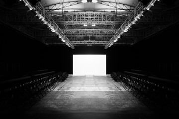 Fashion Show Empty Stage, Auditorium with seats and white background as display