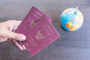 Passport on wood