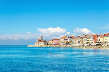 Rocky promontory with a small lighthouse, Piran, Slovakia, Europe