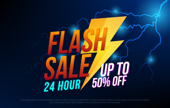 Flash sale bright banner with thunder design template for poster. One day big sale, special offer, clearance. Vector illustrator