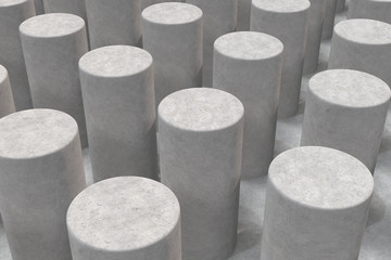 Plain concrete surface with cylinders
