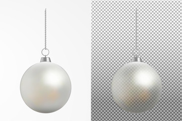 Realistic transparent Christmas ball. New year toy Wall mural