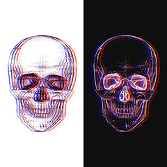 Illusion. Electro skull. Hand-drawn style.