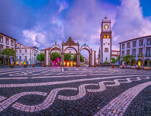 Portas da Cidade - the city symbol of Ponta Delgada in Sao Miguel Island in Azores, Portugal