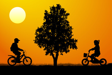 Meeting of children on bicycles near a tree at sunset, silhouette vector