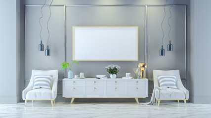 Luxury modern living room  interior ,white  lounge chair with gold lamp and white sideboard on mable floor /3d render