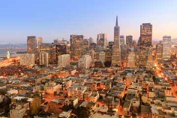 Canvas Prints San Francisco Dusk over San Francisco Downtown. Taken from the top of Coit Tower in Telegraph Hill, San Francisco, California, USA.
