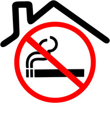 smoking not allowed in the house or closed area sign. Red prohibition symbol sign