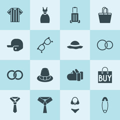 Simple 16 set of fashion filled icons