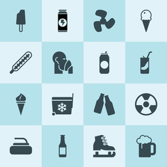 Simple 16 set of cold filled icons