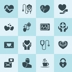 Simple 16 set of heart filled icons