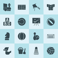 Simple 16 set of play filled icons
