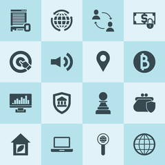 Simple 16 set of internet filled icons