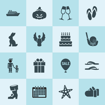 Simple 16 set of holiday filled icons