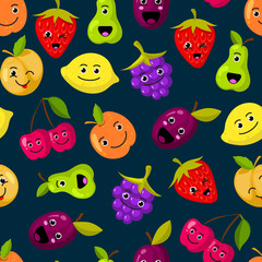 Vector flat fruits with cute faces pattern or background