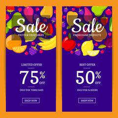 Vector flat fruits vegan shop or market sale flyer, banner templates