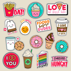 Set of fashion girls patches, cute colorful badges, fun cartoon icons design vector