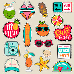 Set of fashion patches, cute colorful badges, fun cartoon icons design vector