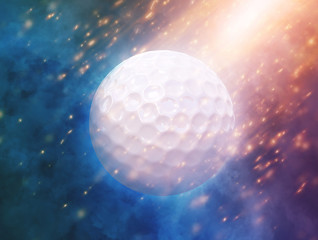 Golf ball on the color glow background. 3d illustration