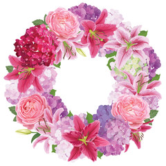 Colorful lilies flower, roses and hydrangea wreath on white background. Vector set of blooming floral for wedding invitations and greeting card design.