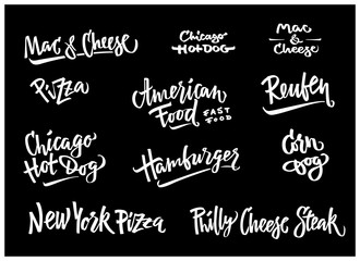 Hand drawn vector illustration popular American Food varieties Corn Dog, Chicago Hot Dog, Hamburger, Philadelphia Cheese Steak, Reuben Sandwich, Mac and Cheese, New York Pizza.