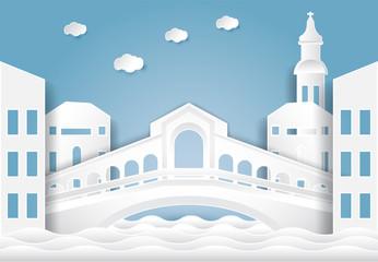 Rialto bridge, Venice in Italy background.  Paper cut, Paper art illustration
