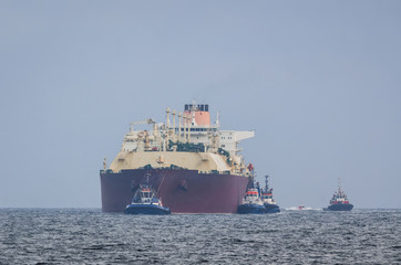 GAS CARRIER - The big ship enters the port of Swinoujscie