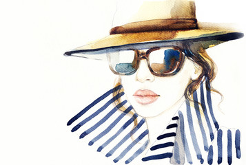 Zelfklevend Fotobehang Aquarel Gezicht Woman in coat. Fashion illustration. Beautiful woman