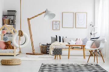 Black and white stool