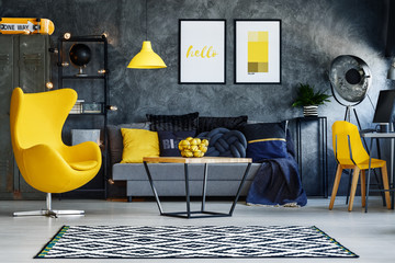 Yellow furniture in living room