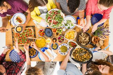 Top view, delicious vegan dinner Wall mural