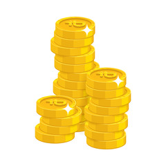 Stack gold rubles isolated cartoon. Bunches of gold rubles and ruble signs for designers and illustrators. Gold stacks of pieces in the form of a vector illustration