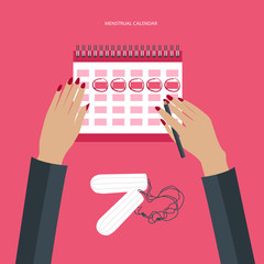 Menstruation calendar with cotton tampons. Woman hygiene protection. Woman critical days. Flat vector illustration.