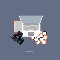 Photography concept. Desk with camera, photos, lap top and notebook. Flat vector illustration.