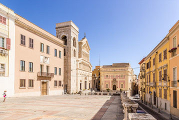 Cagliari, Sardinia, Italy. The house of the Archbishop (earlier 1300), the cathedral (XIII century) and the old town hall (XIV century) on the Palace Square