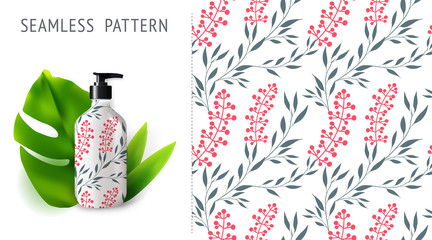 Summer seamless patterns, demonstrated on mockup installation with bottle. Can be used for embroidery, print or silkscreen on fabric.