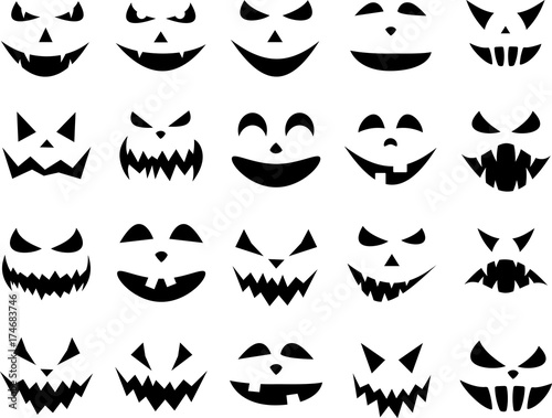 Halloween pumpkin face patterns on white.