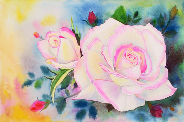 Painting pink color of roses flower and  emotion