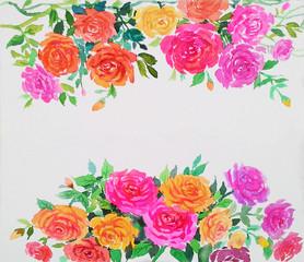 Watercolor original painting colorful of roses pattern
