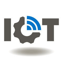 IOT Gear WIFI Icon Vector. Internet of Things Service Illustration. Smart Wireless technology Logo Symbol.