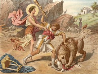 King David saves a sheep from the lion