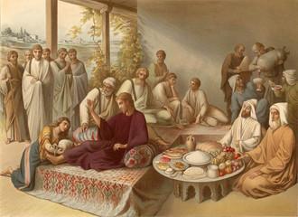 Washing feet Jesus a sinner.