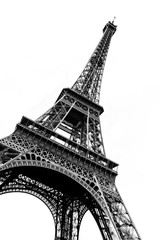 Tour Eiffel in black and white silhouetted against a plain white background.