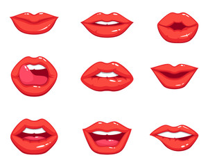 Different shapes of female sexy red lips. Vector illustrations in cartoon style