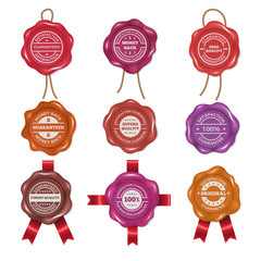Wax stamps with different promo labels. Vector pictures set