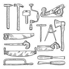 Tools in carpentry workshop. Vector hand drawn illustration
