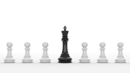 Leadership, black king of chess among white pawns. 3D Rendering.