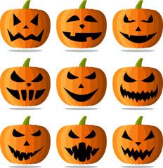 Halloween pumpkin faces set on white.