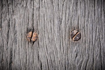 close up on wood and nail , rusty nail on wood , wood texture, rusty nail in wood background