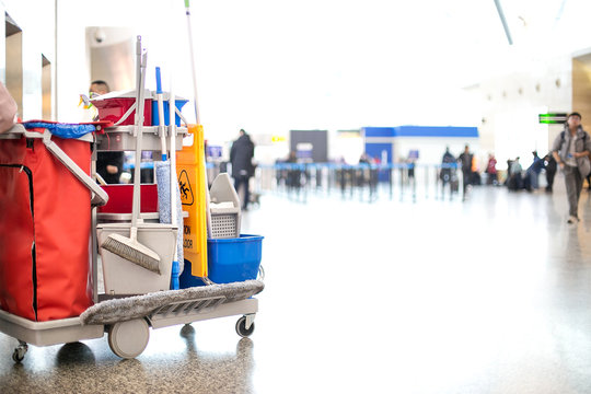cleaning cart in modern hall